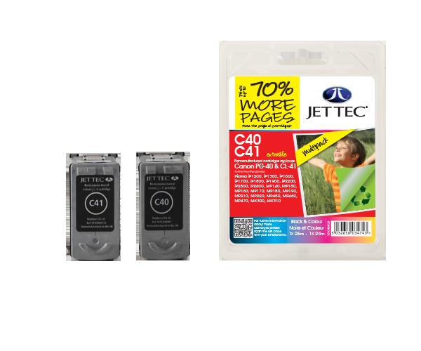 Remanufactured Canon PG40 + CL41 Black + CMY Colour Multipack